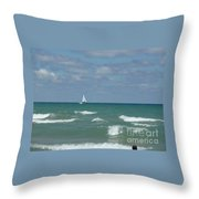 Sailing Away On The Lake Throw Pillow