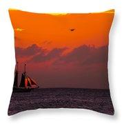 Sailing Boat At Sunset Throw Pillow
