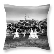 Sailing Boat  Black-and-white Throw Pillow
