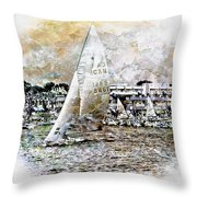 Sailing Boat, Nautical,yachts, Seascape Throw Pillow