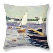 Sailing Boats At Argenteuil Throw Pillow