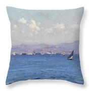 Sailing Boats In  Landscape Throw Pillow