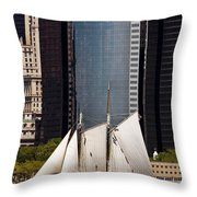 Sailing By Downtown Throw Pillow