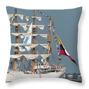 Sailing By The Battery Throw Pillow