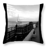 Sailing By The Old Pier Throw Pillow