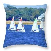 Sailing Charleston Harbor Throw Pillow