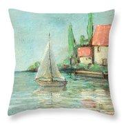 Sailing Day After Monet Throw Pillow