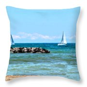 Sailing Days On Lake Erie Panorama Throw Pillow