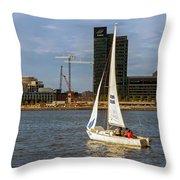 Sailing Downtown Throw Pillow