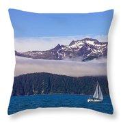 Sailing In Alaska Throw Pillow