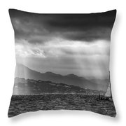 Sailing In Black And White Throw Pillow