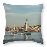 Sailing In Lisbon Portugal Throw Pillow
