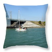 Sailing In Port Canaveral Florida Throw Pillow
