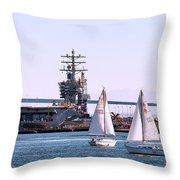 Sailing In San Deigo Throw Pillow