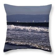 Sailing In Santa Monica Throw Pillow