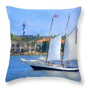 Sailing In St. Augustine Throw Pillow
