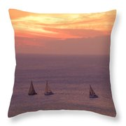 Sailing In The Golden Glow Throw Pillow