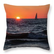Sailing Into The Sunset Throw Pillow by Fran Riley