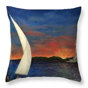 Sailing Liberty Throw Pillow