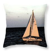 Sailing Off Of Diamond Head Throw Pillow