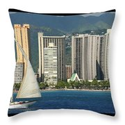 Sailing Off Waikiki Throw Pillow