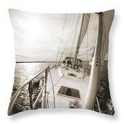 Sailing On A Beneteau 49 Sailboat Throw Pillow