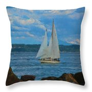 Sailing On A Summer Day Throw Pillow