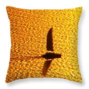 Sailing On Gold Throw Pillow