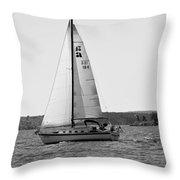 Sailing On Lake Murray S C Black And White Throw Pillow