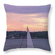 Sailing On Puget Sound At Sunset Throw Pillow