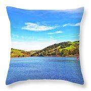 Sailing On San Pablo Dam Reservoir Throw Pillow