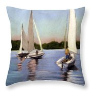 Sailing On The Charles Throw Pillow by Lenore Gaudet
