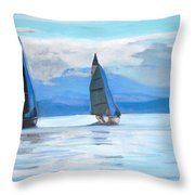 Sailing Race Throw Pillow
