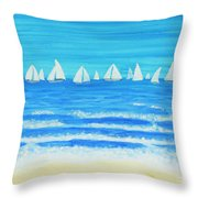 Sailing Regatta White Throw Pillow