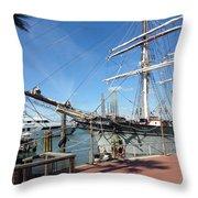 Sailing Ship At Galveston Throw Pillow