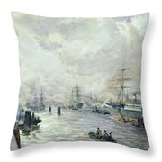 Sailing Ships In The Port Of Hamburg Throw Pillow