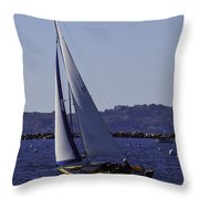 Sailing Stonington Harbor Throw Pillow