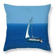 Sailing The Deep Blue Sea Throw Pillow