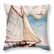 Sailing Through Open Waters Throw Pillow