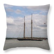Sailing Under British Flag Throw Pillow