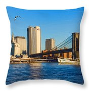 Sailing Under The Brooklyn Bridge - Impressions Of Manhattan Throw Pillow