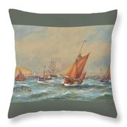 Sailing Vessels Off A Harbour Entrance Throw Pillow