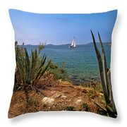 Sailing Waterfront Of Prvic Island View Throw Pillow