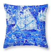 Sailing With Friends Throw Pillow