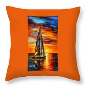 Sailing With The Sun - Palette Knife Oil Painting On Canvas By Leonid Afremov Throw Pillow