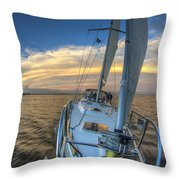 Sailing Yacht And Tropical Storm Ana Outflow  Throw Pillow