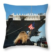 Sailors Aboard Aircraft Carrier Uss Throw Pillow