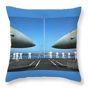 Sailors Aboard The Aircraft Carrier Uss Nimitz  Throw Pillow