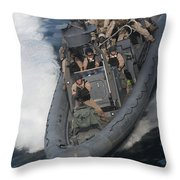 Sailors Operate A Rigid-hull Inflatable Throw Pillow