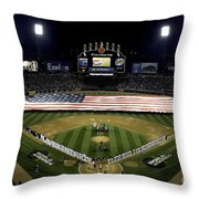 Sailors Unfurl The Stars And Stripes Throw Pillow